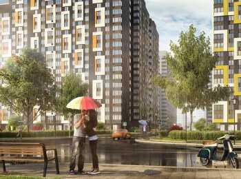 Вид на жилой комплекс с проезжей части